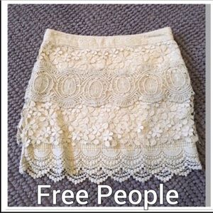 FREE PEOPLE Cream Crochet Lace Skirt SZ 0